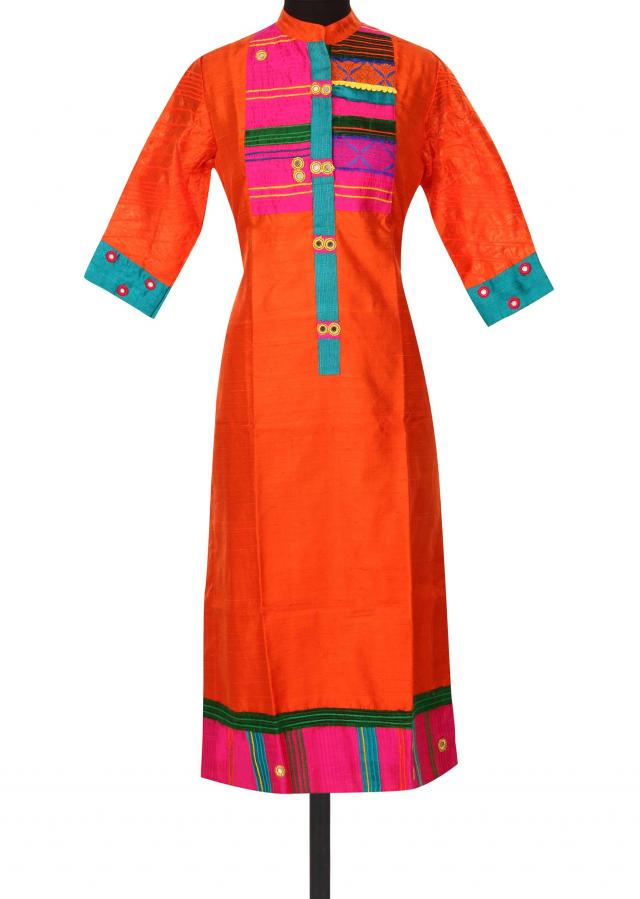 Orange kurti with contrast yoke only on Kalki