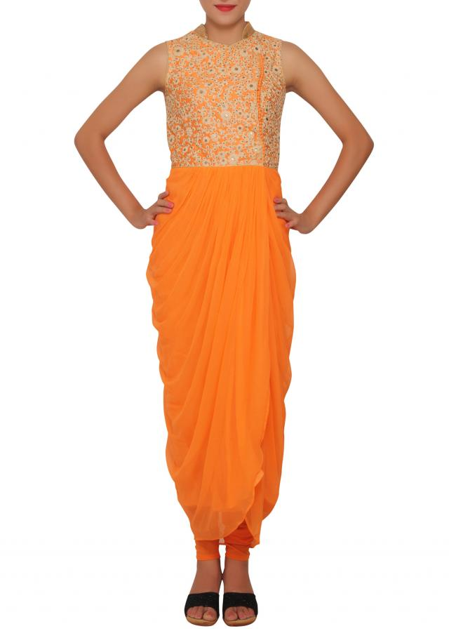 Orange over-lap floral embroidery salwar-kameez with cowl drape only on Kalki