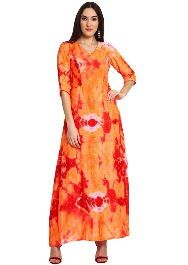Orange Red Printed Maxi Dress