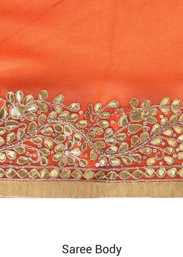 Orange saree adorn in gotta patch butti and border only on Kalki