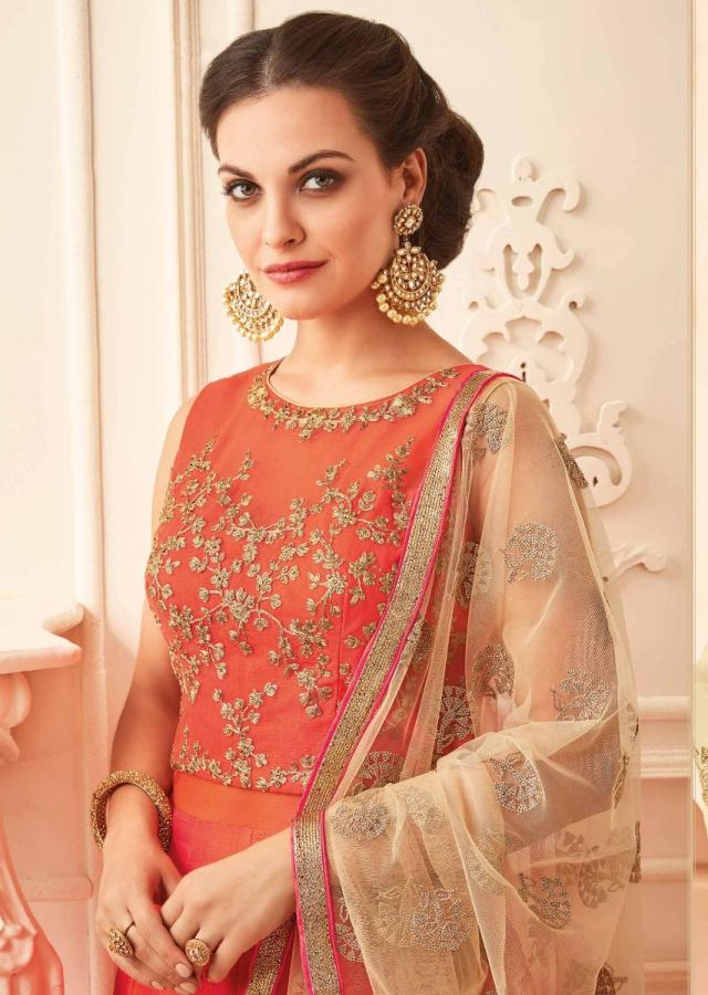 Orange Anarkali Suit In Raw Silk With Zari And Kundan Embroidered Bodice Online - Kalki Fashion