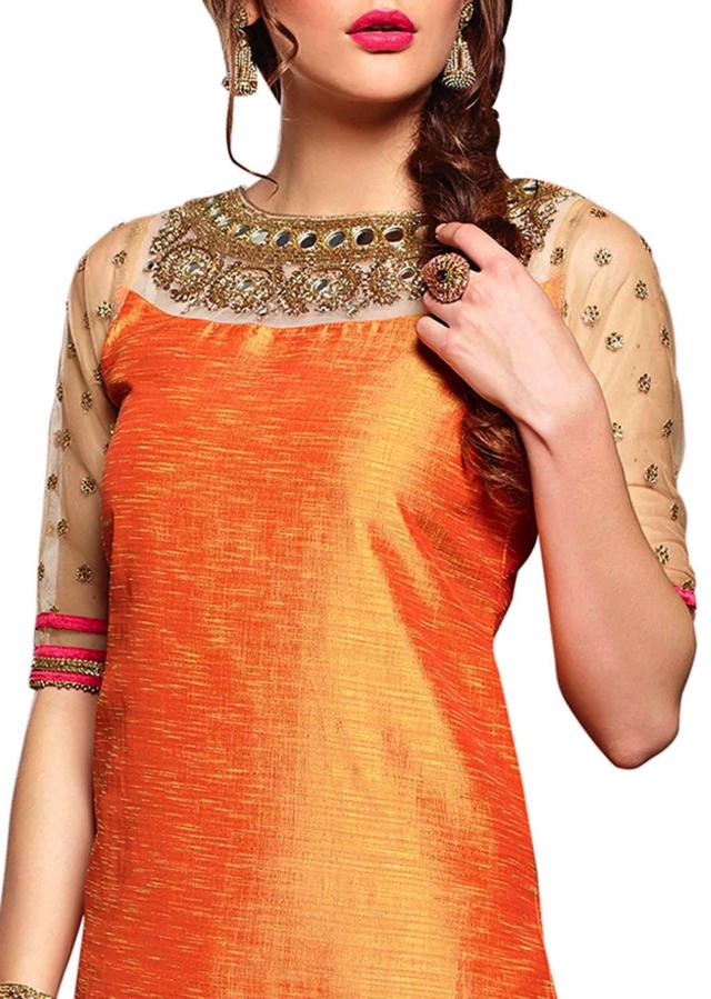 Orange straight suit with mirror and kundan embroidery