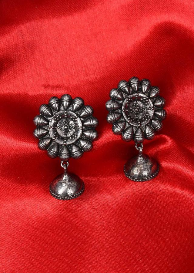 Oxidized floral stud with nano jhumkas drop only on Kalki