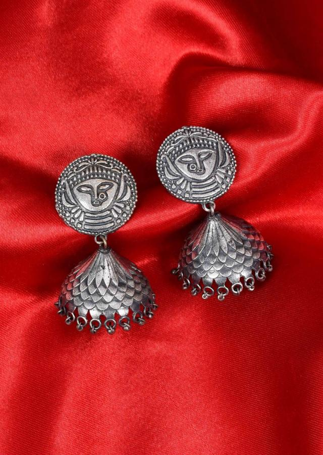 Oxidized jhumkas with self carving only on Kalki