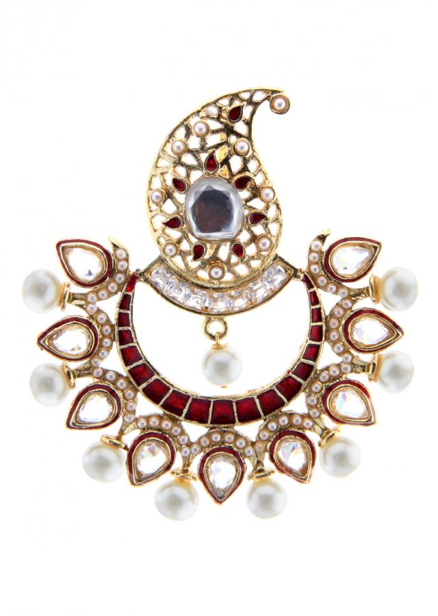 Paisley motif earring embellished in pearl embroidery only on Kalki