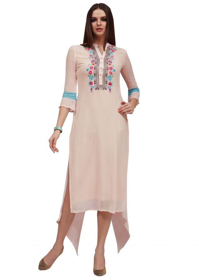 Pale cream kurti in georgette with embroidered placket