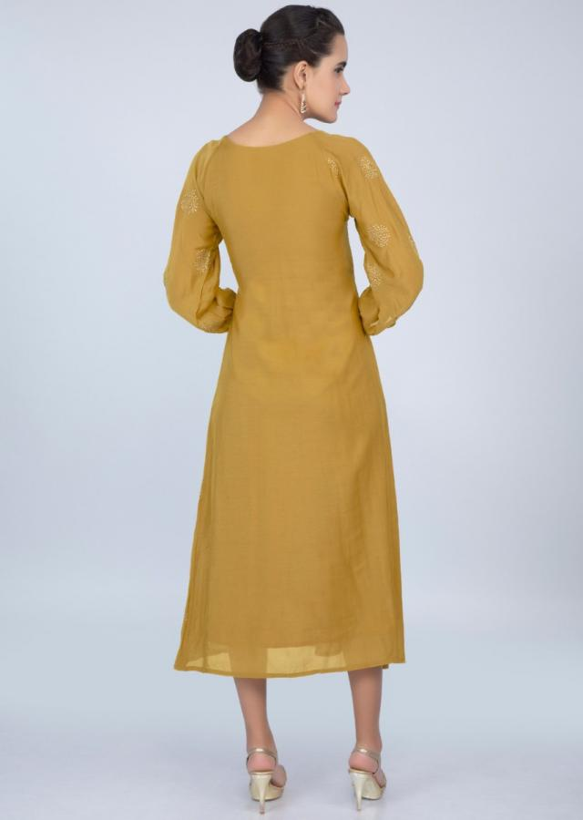 Pale mustard cotton silk kurti with butti only on kalki