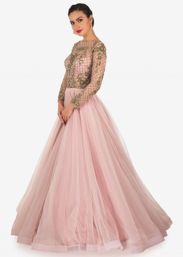 Pale Pink Net and Satin Lining Gown Designed with Zardosi Only on Kalki