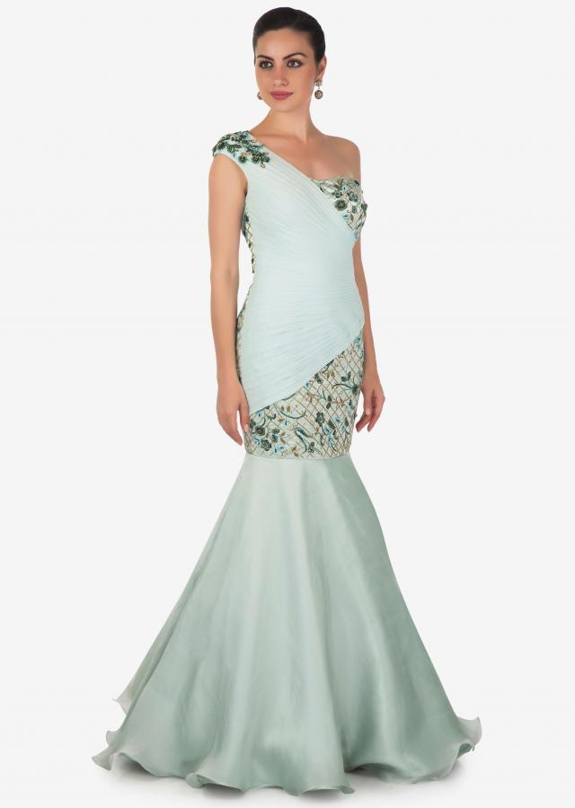 Pale Powder Blue Heavy Satin Gown with Sequins and Zardosi Only on Kalki