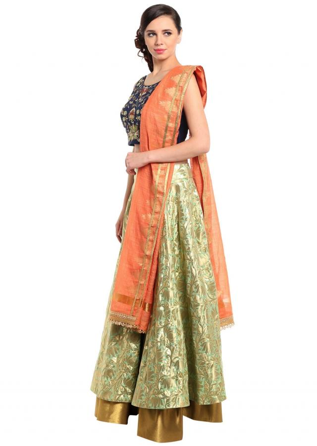 Paradise green lehenga with embroidered raw silk blouse only on Kalki