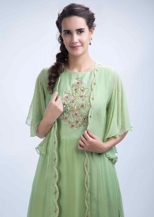 Parrot Green Tunic Dress With Embroidered Bodice And A Long Jacket With Frill Sleeves Online - Kalki Fashion