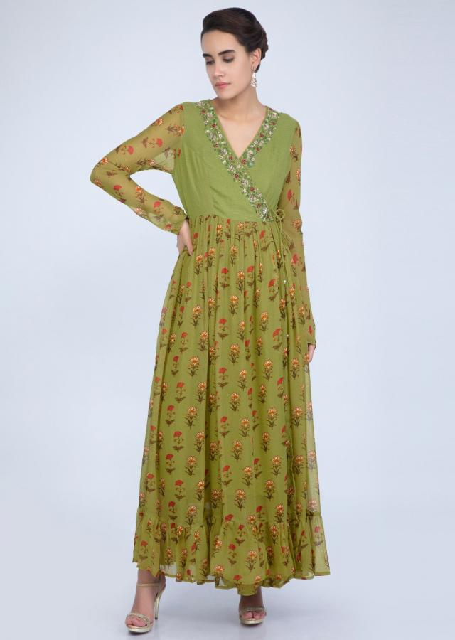 Parrot green georgette tunic dress with front tie up and angrakha style bodice only on Kalki