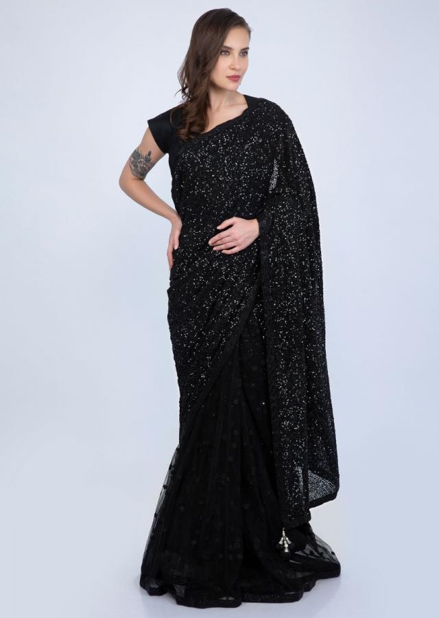 Party Wear Half And Half Saree In Net And Sequins Embroidered Fabric Online - Kalki Fashion