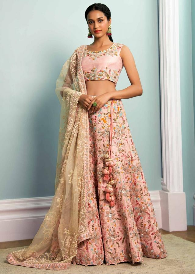 Pastel Pink Lehenga Choli In Raw Silk With Floral And Leaf Jaal Pattern Online - Kalki Fashion