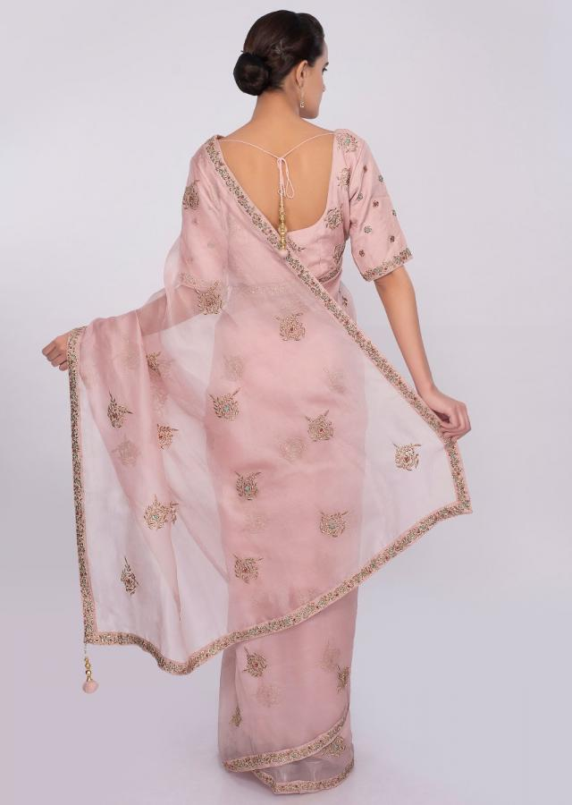 Pastel pink organza saree with zari embroidered butti and  border only on Kalki