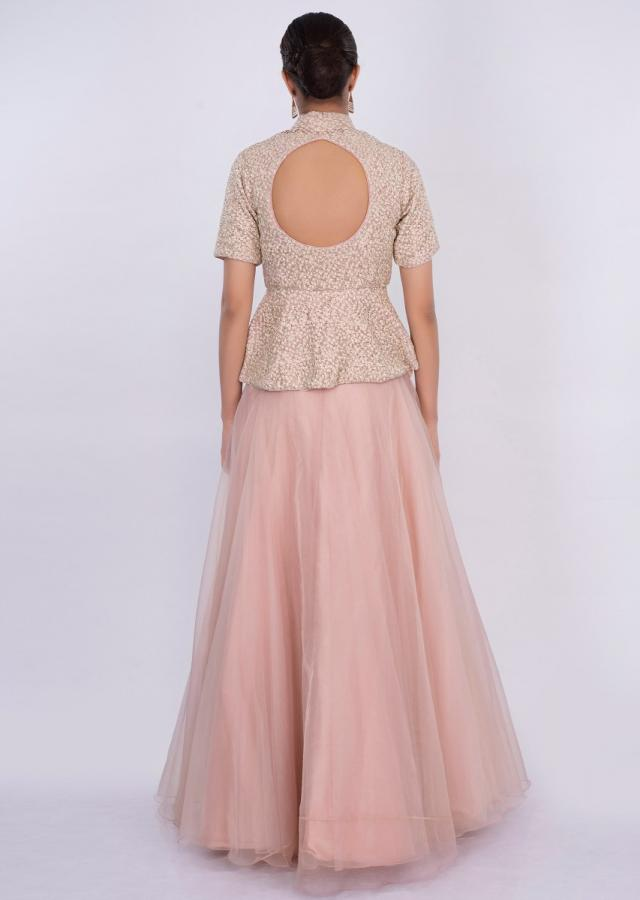 Pastel Pink Peplum Top With Matching Organza Skirt Online - Kalki Fashion