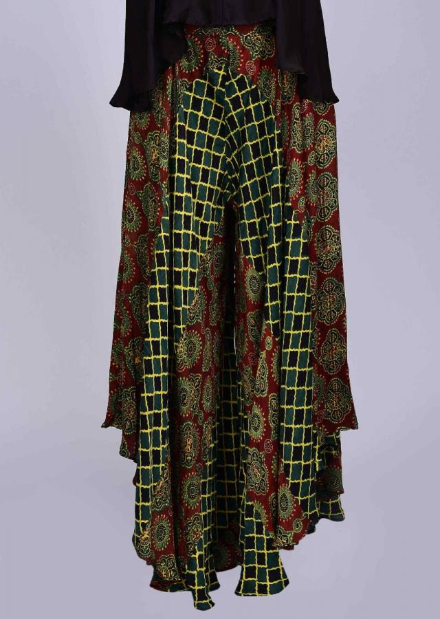 Patola printed palazzo with contrasting satin skirt in bell sleeves only on Kalki