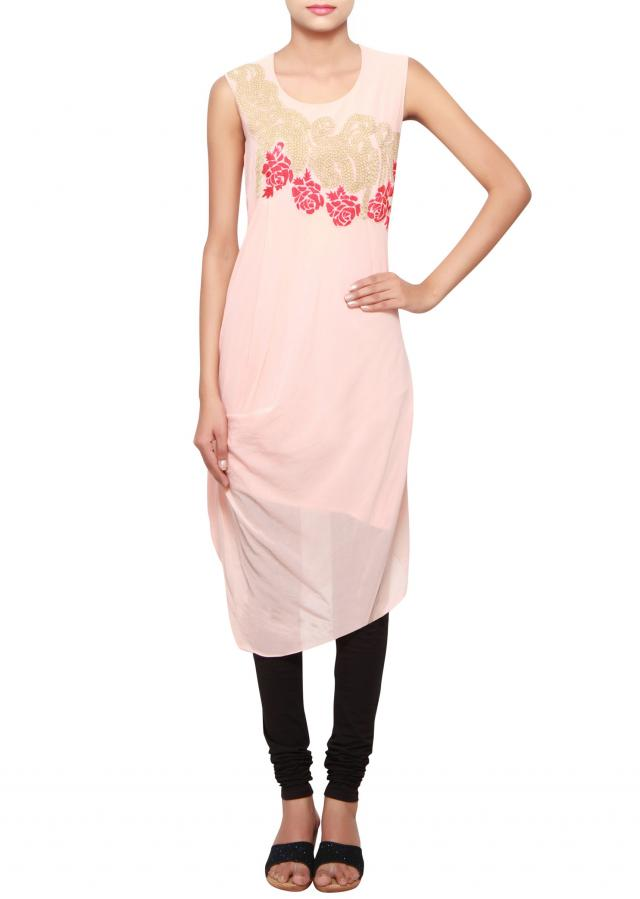Peach a-symmetrical kurti in cotton embellished in patchwork only on Kalki