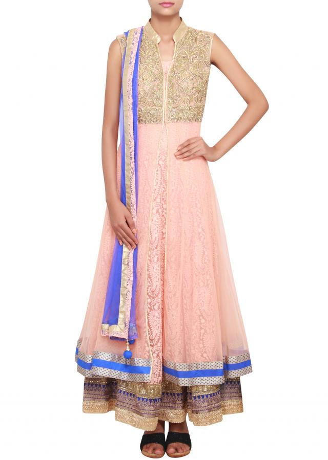 Peach anarkali featured in net with self chickenkari work only on Kalki