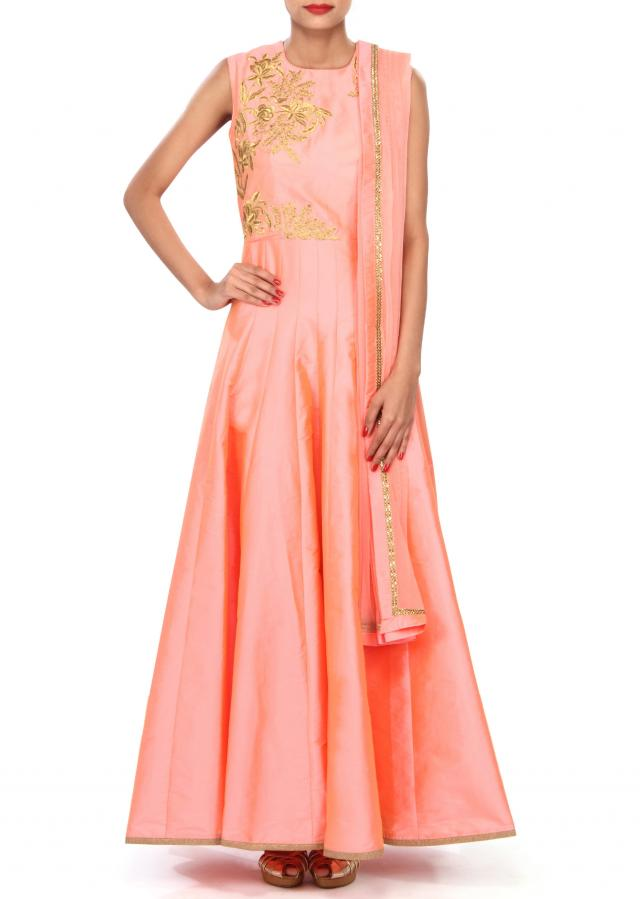 Peach anarkali suit embellished in zari and kundan embroidery only on Kalki