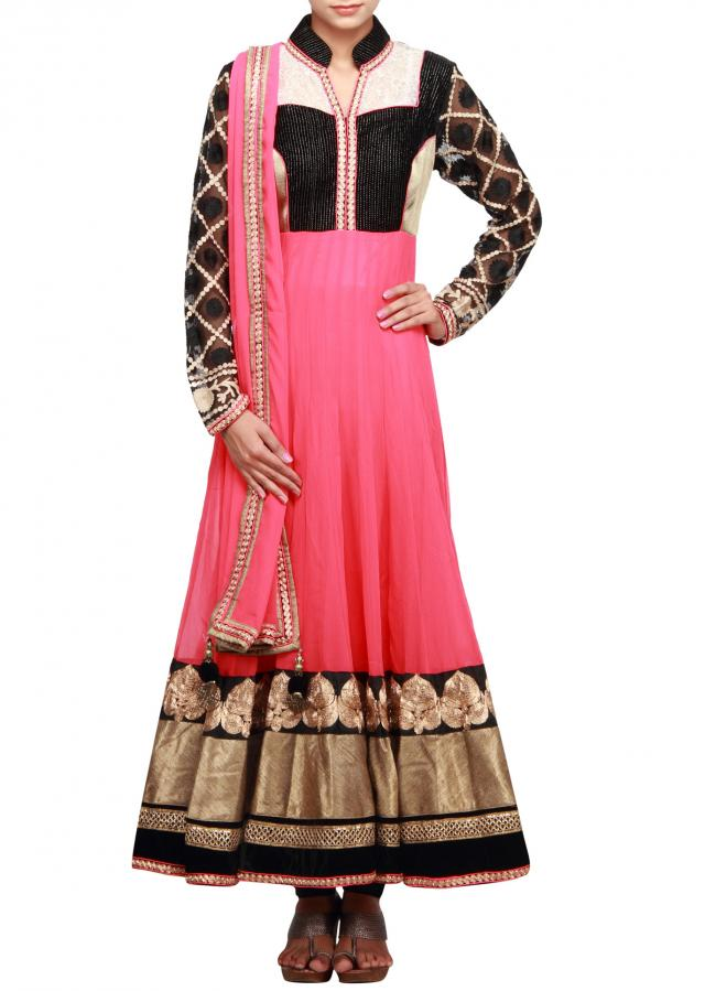 Peach anarkali suit  highlighted with velvet bodice only on Kalki