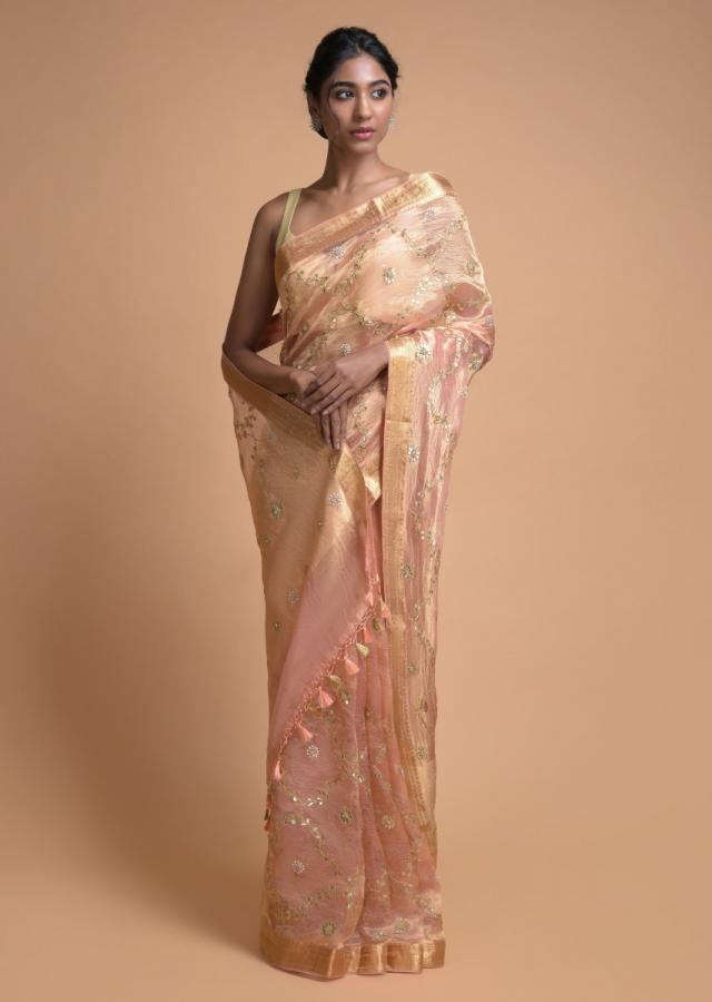 Peach And Gold Banarasi Saree In Silk With Gotta Patch Embroidery Online - Kalki Fashion