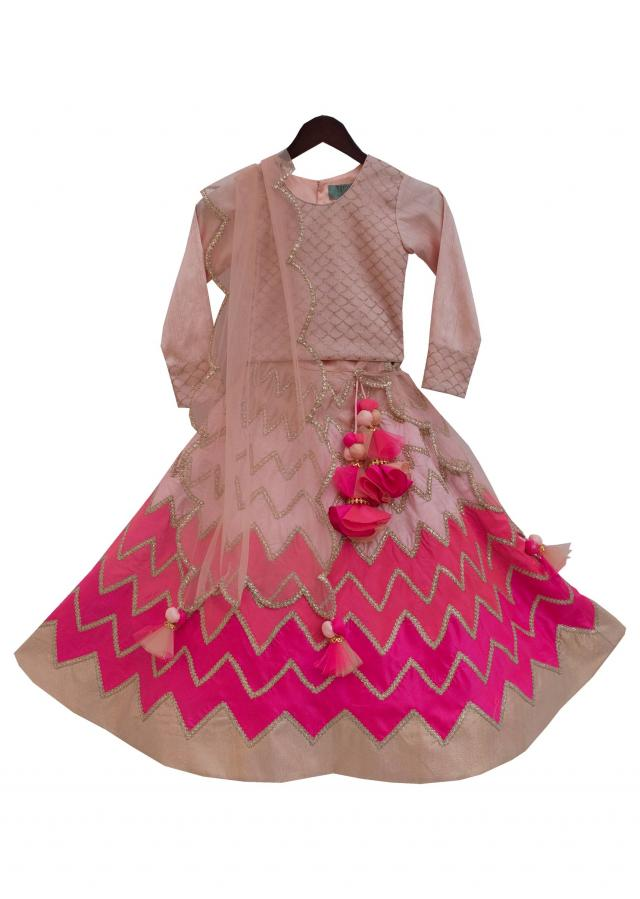 Peach Choli with Triple shade Lehenga by Fayon Kids