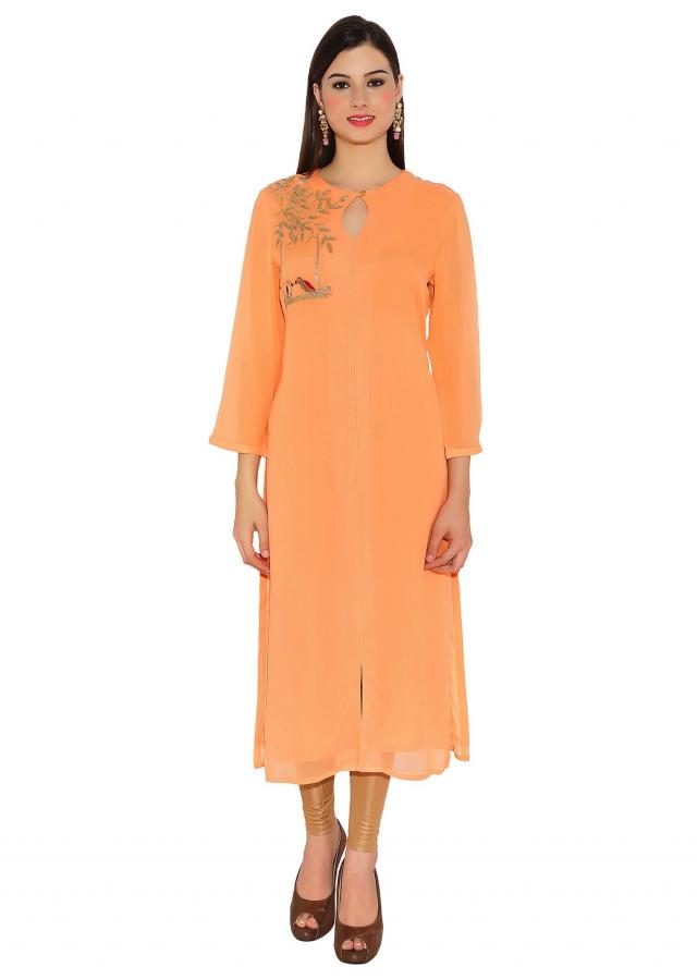 Peach Georgette Kurti With Zardosi Work Embroidered Bird Motifs And Front Slit Only On Kalki