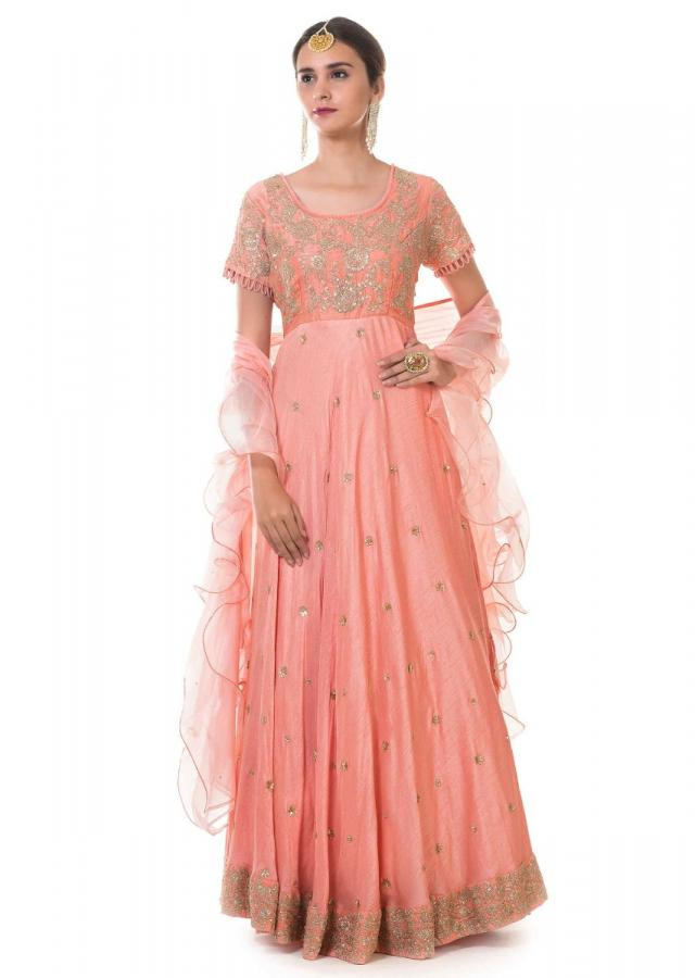 Peach Gown With Hand Embroidery And A Frill Dupatta Online - Kalki Fashion