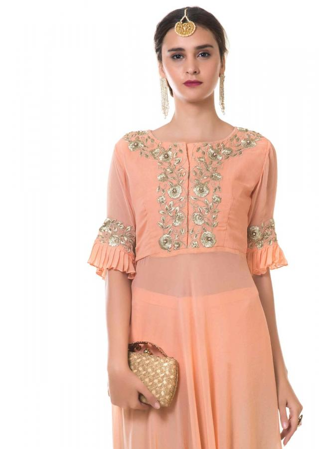 Peach High Low Top With Hand Embroidery And Pleated Sleeves And Shaded Palazzo Online - Kalki Fashion