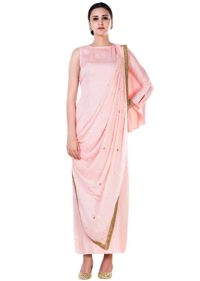 Peach Kaftan Style Straight Tunic With An Attached Palla Online - Kalki Fashion