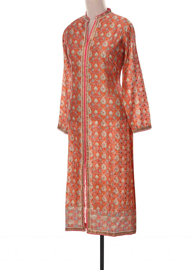 Peach kurti adorn in embellished placket only on Kalki