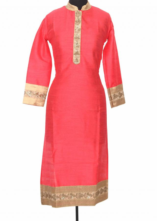 Peach kurti featuring with sequin placket only on Kalki