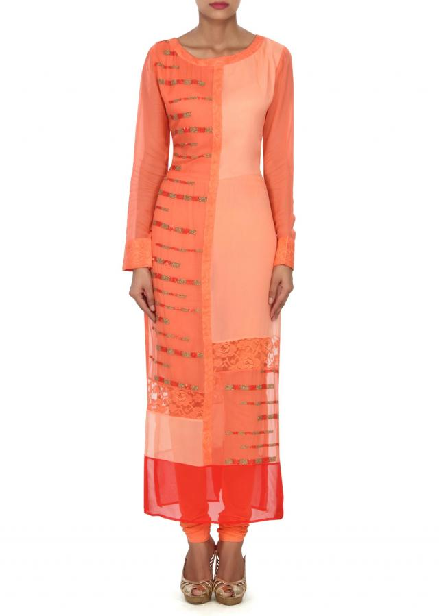 Peach kurti in sequin and chantilly lace only on Kalki