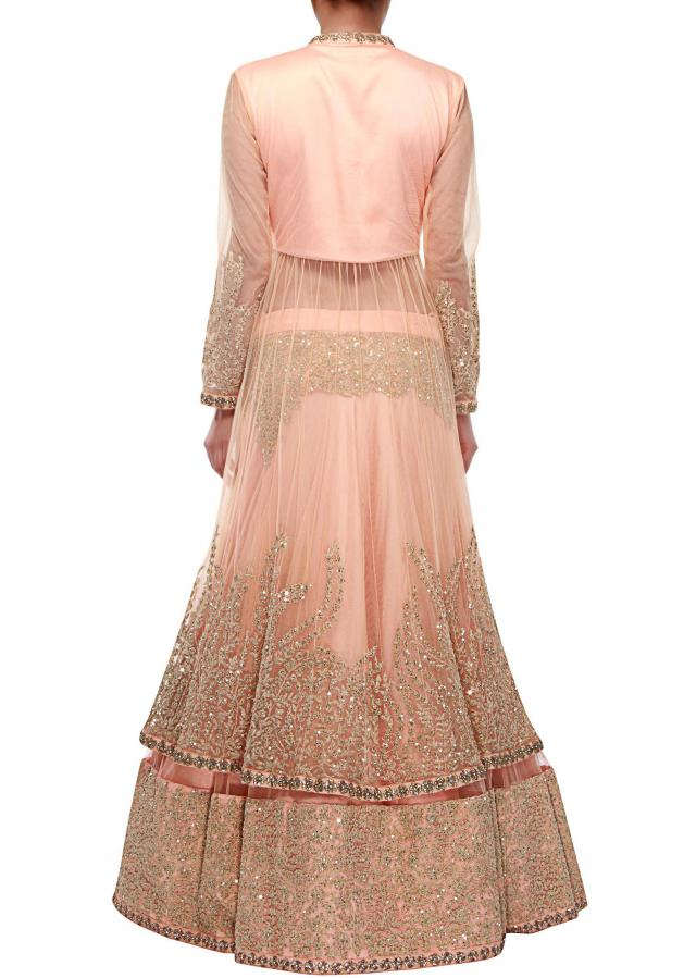 Peach long jacket lehenga adorn in sequin and thread embroidery only on Kalki