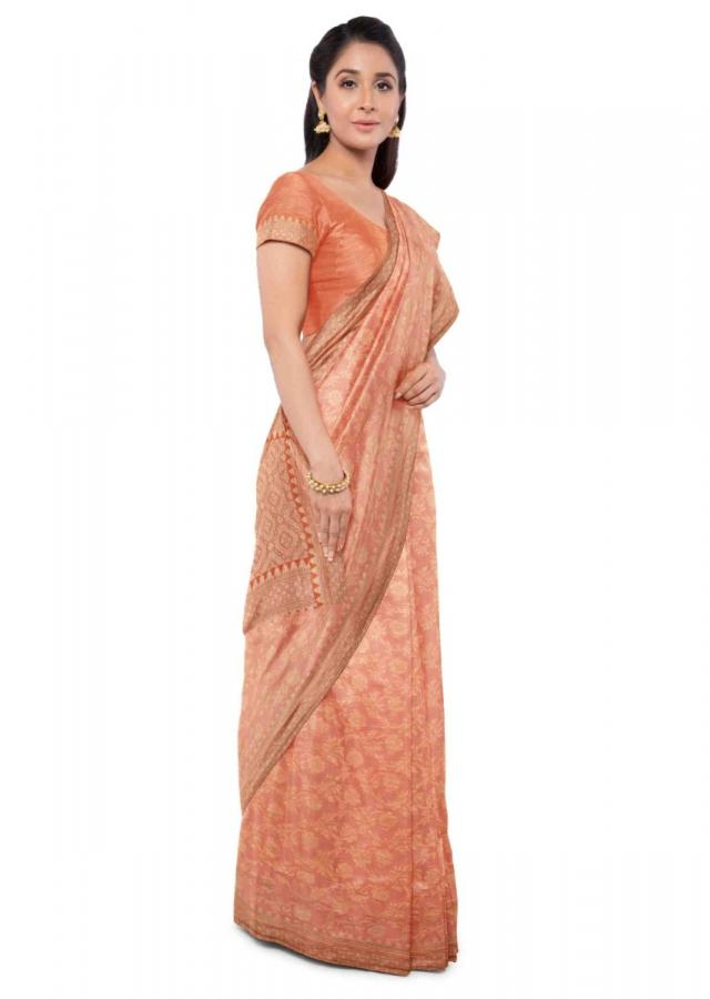 Peach Orange Chiffon Banarasi Saree With Floral Jaal Work Orange Blouse Piece Online - Kalki Fashion