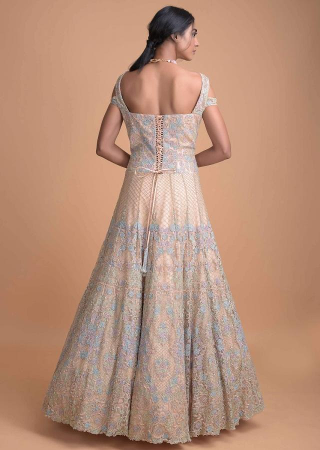 Peach Pink Anarkali Gown With Thread And Cut Dana Work Online - Kalki Fashion