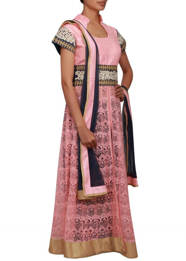 Peach raw silk and net anarkali embellished in zari and thread work only on Kalki