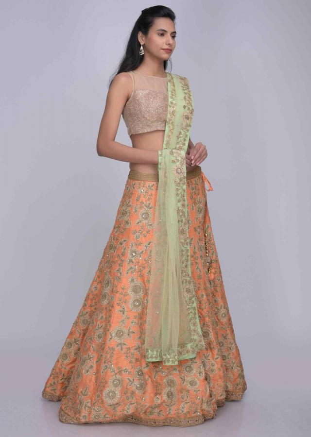 Peach Lehenga In Raw Silk With Pista Green Net Dupatta Online - Kalki Fashion