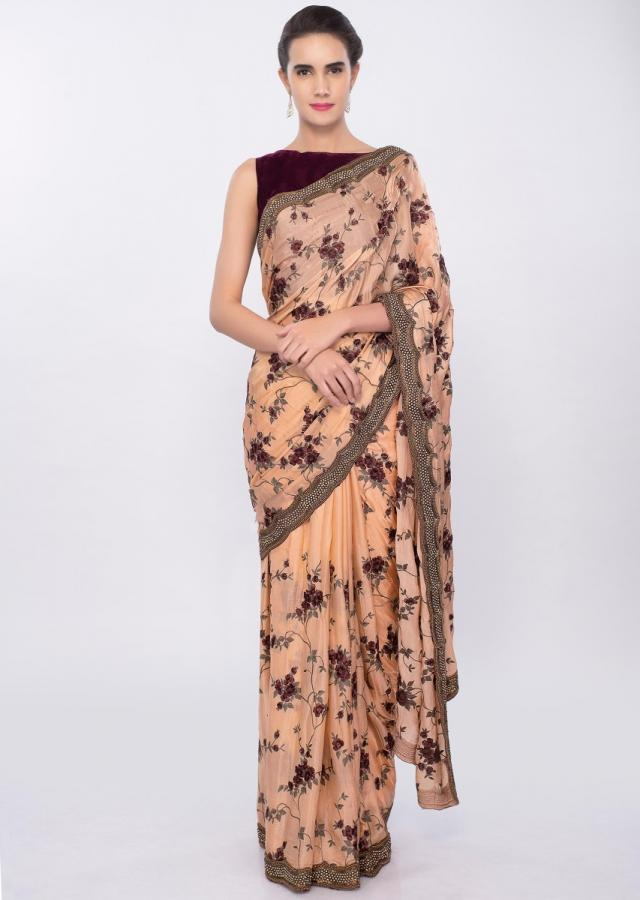 Peach satin chiffon saree in floral jaal embroidery with scallop border only on Kalki
