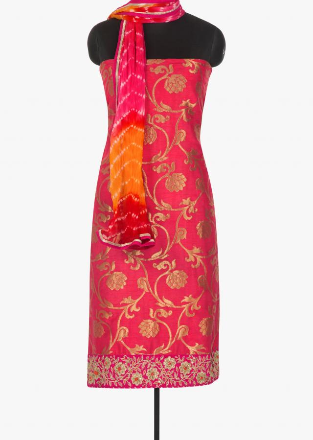 Peach silk unstitched suit with weaved jaal and embroidery hem line only on Kalki