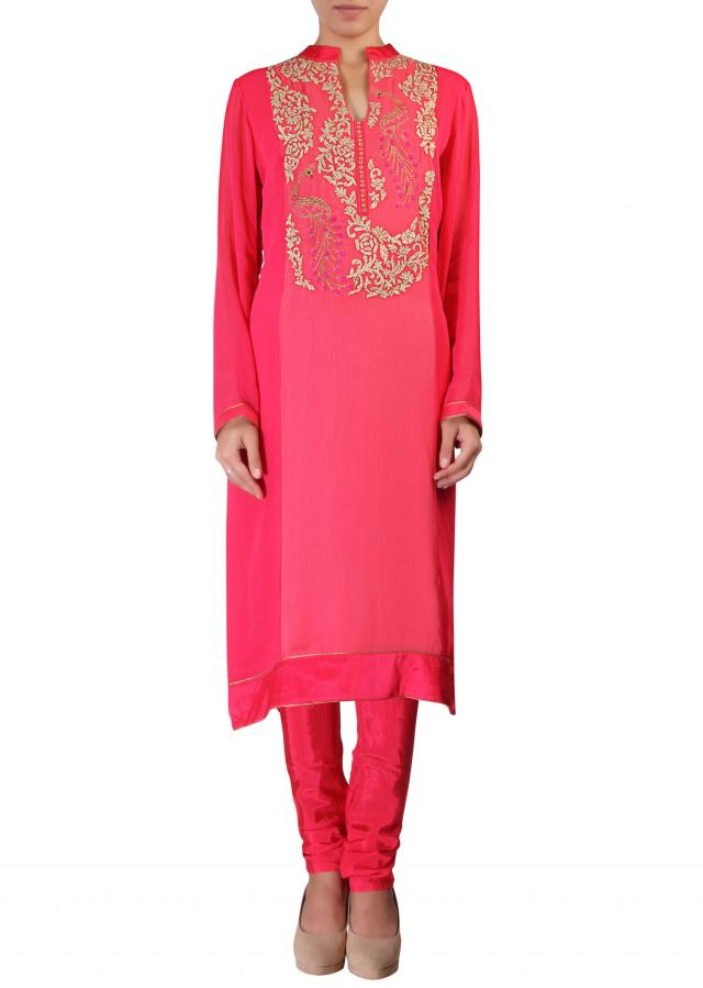 Peach straight fit suit featuring in resham and zari embroidery in peacock motif only on Kalki