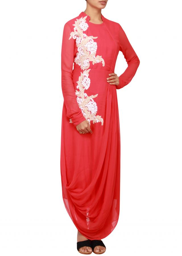 Peach straight fit suit in georgette embellished in thread only on Kalki