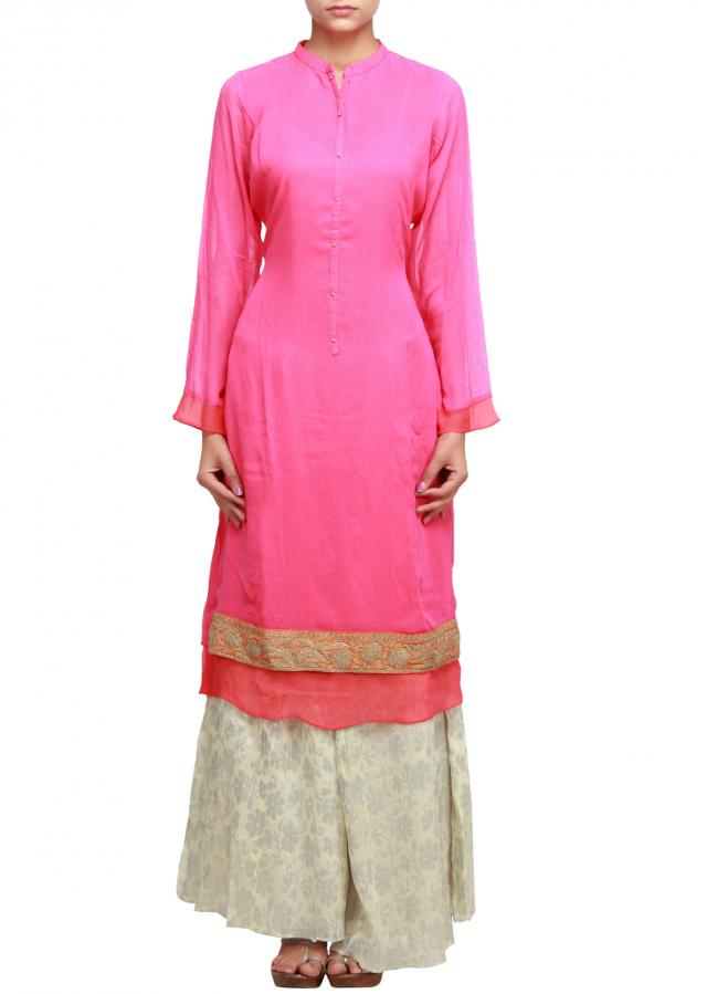 Peach straight fit suit matched with cream palazzo pant only on Kalki