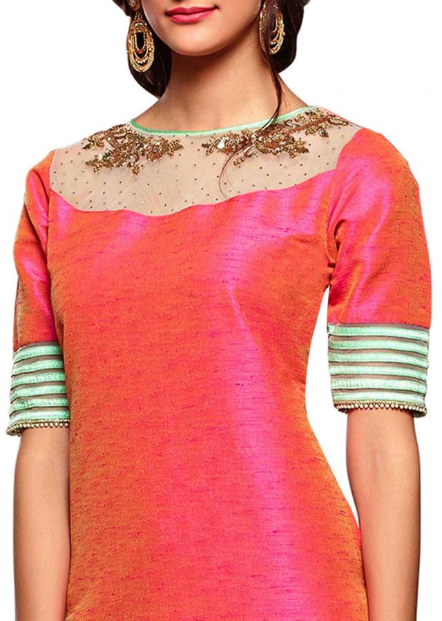 Peach straight Patiala suit in sequin and fancy lace