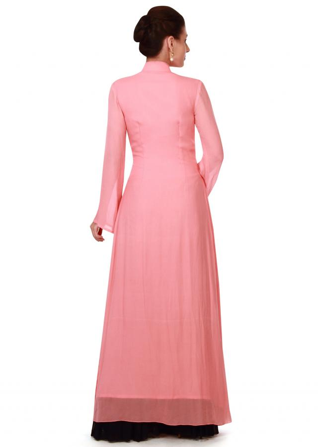 Peach straight suit embellished in zardosi only on Kalki