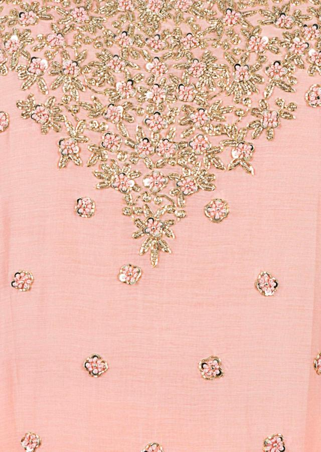 Peach Straight Suit With Palazzo Pant In Cut Dana And French Knot Embroidery Online - Kalki Fashion