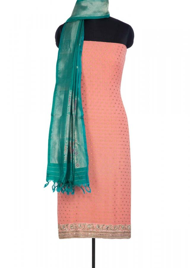Peach Unstitched Suit In Georgette With A Contrasting Turq Green Brocade Dupatta Online - Kalki Fashion