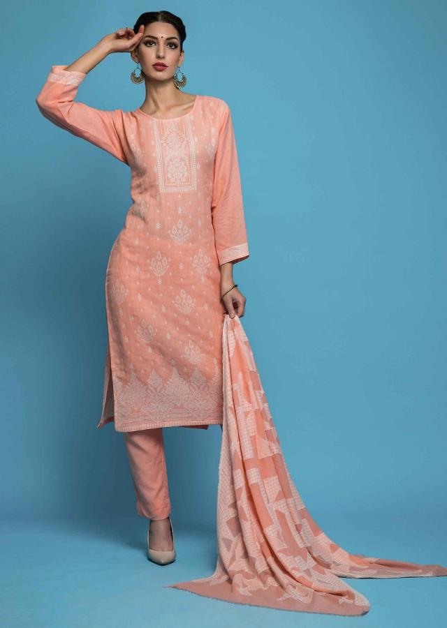 Peach Unstitched Suit In Cotton With White Thread Butti And Border Online - Kalki Fashion