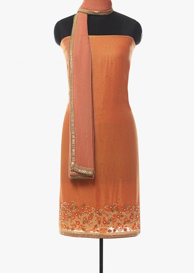 Peach unstitched suit in foil georgette with moti and cut dana work only on Kalki
